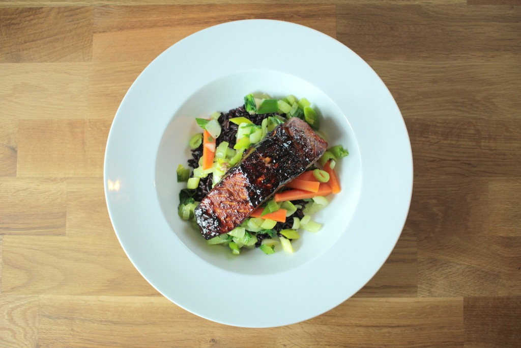 Blackened Salmon with Stir Fry Vegetables and Black Thai Rice Recipe ...