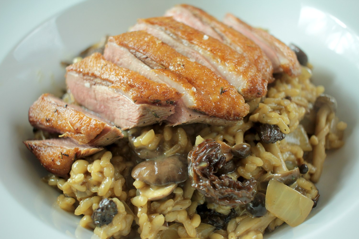 Wild Mushroom Risotto with Duck Breast Recipe - Globe Scoffers | globescoffers.com