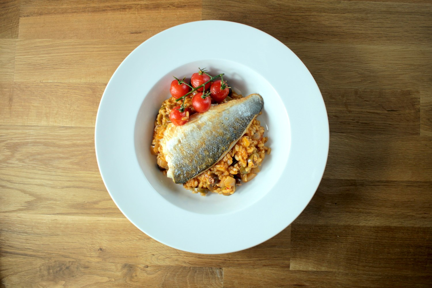 Mediterranean Risotto with Sea Bass Recipe - Globe Scoffers | globescoffers.com