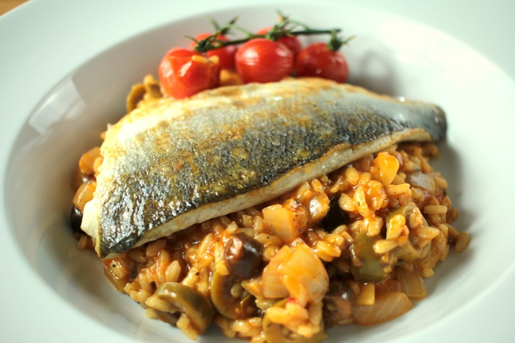 Mediterranean Risotto with Sea Bass