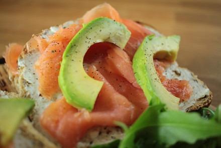 Salmon and avocado on toast