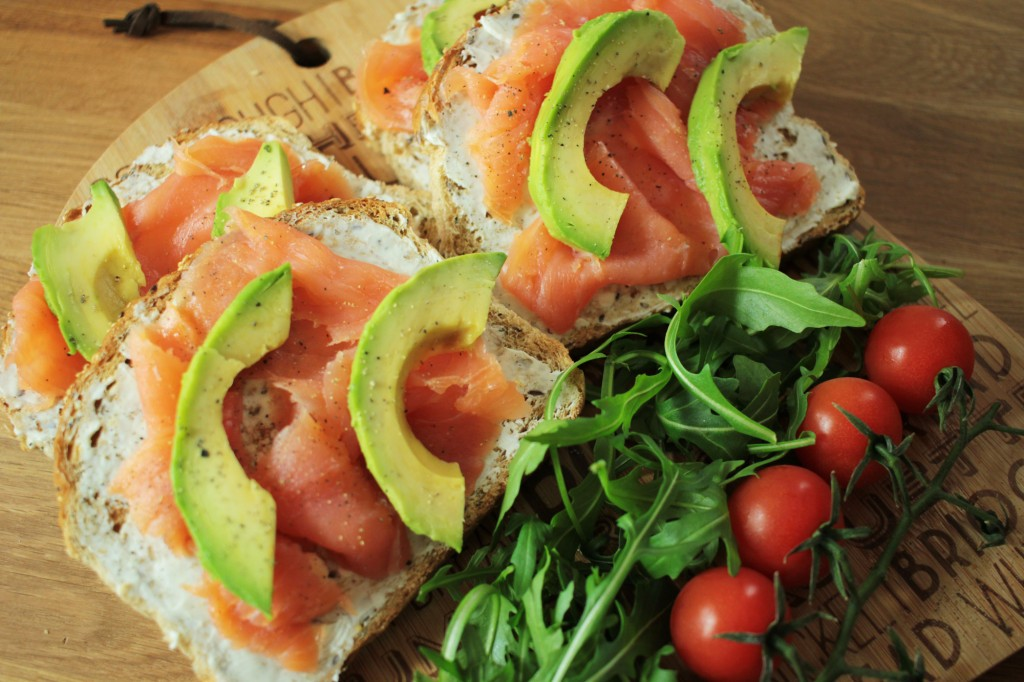 Salmon and avocado on toast