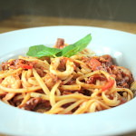Spicy Prawn and Squid Linguini with Tomato and Basil Sauce