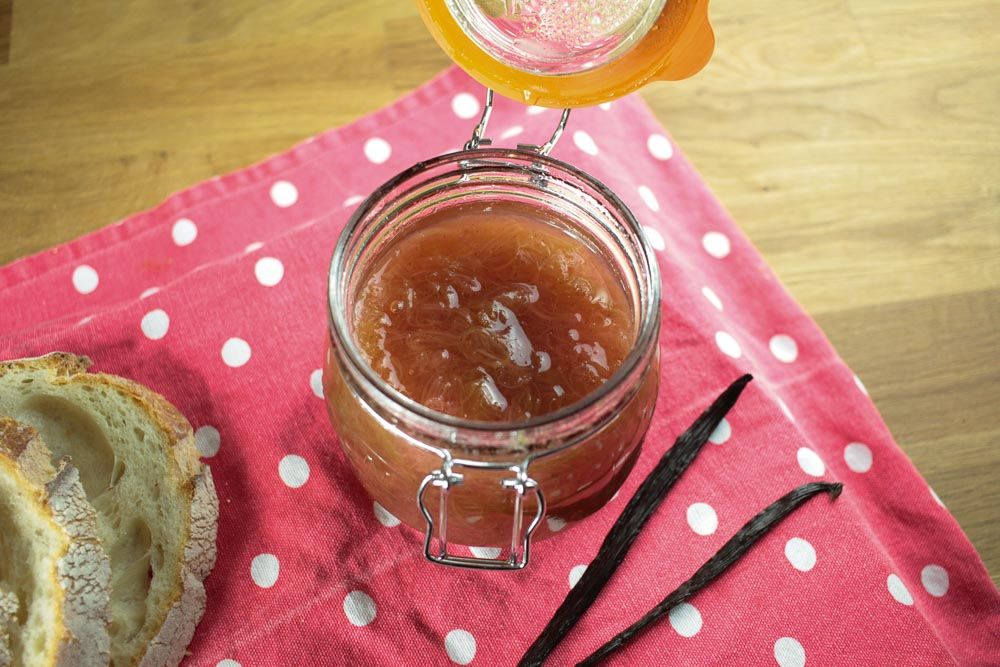 Rhubarb and Vanilla Jam Recipe - Globe Scoffers | globescoffers.com