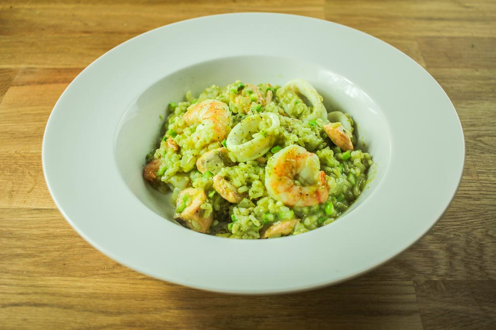 Seafood and raw asparagus risotto