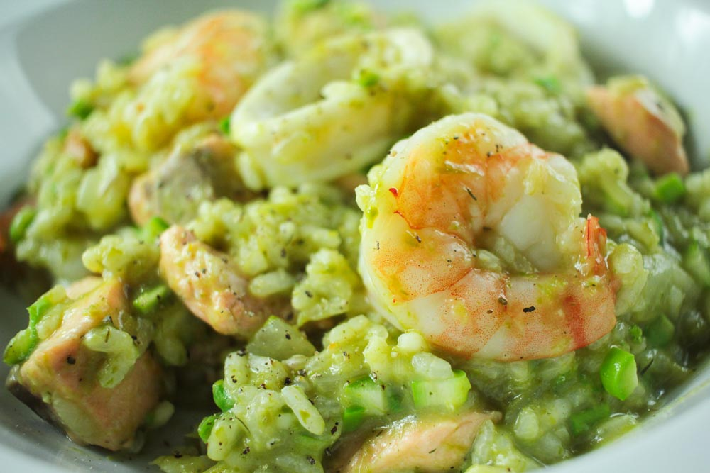 Seafood and Raw Asparagus Risotto Recipe - Globe Scoffers | globescoffers.com