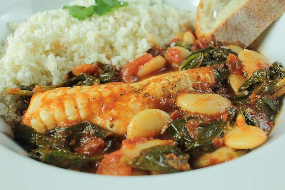 One-Pot Spicy Monkfish Stew with Cauliflower Couscous Recipe - Globe Scoffers   globescoffers.com