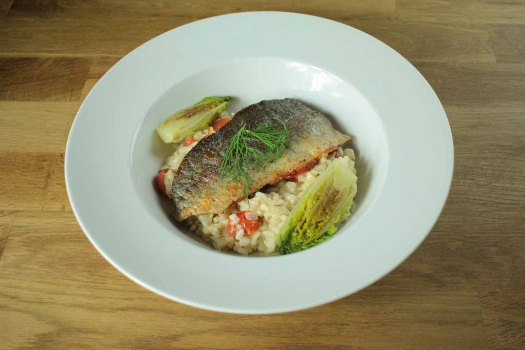 Trout Risotto with Braised Lettuce-1