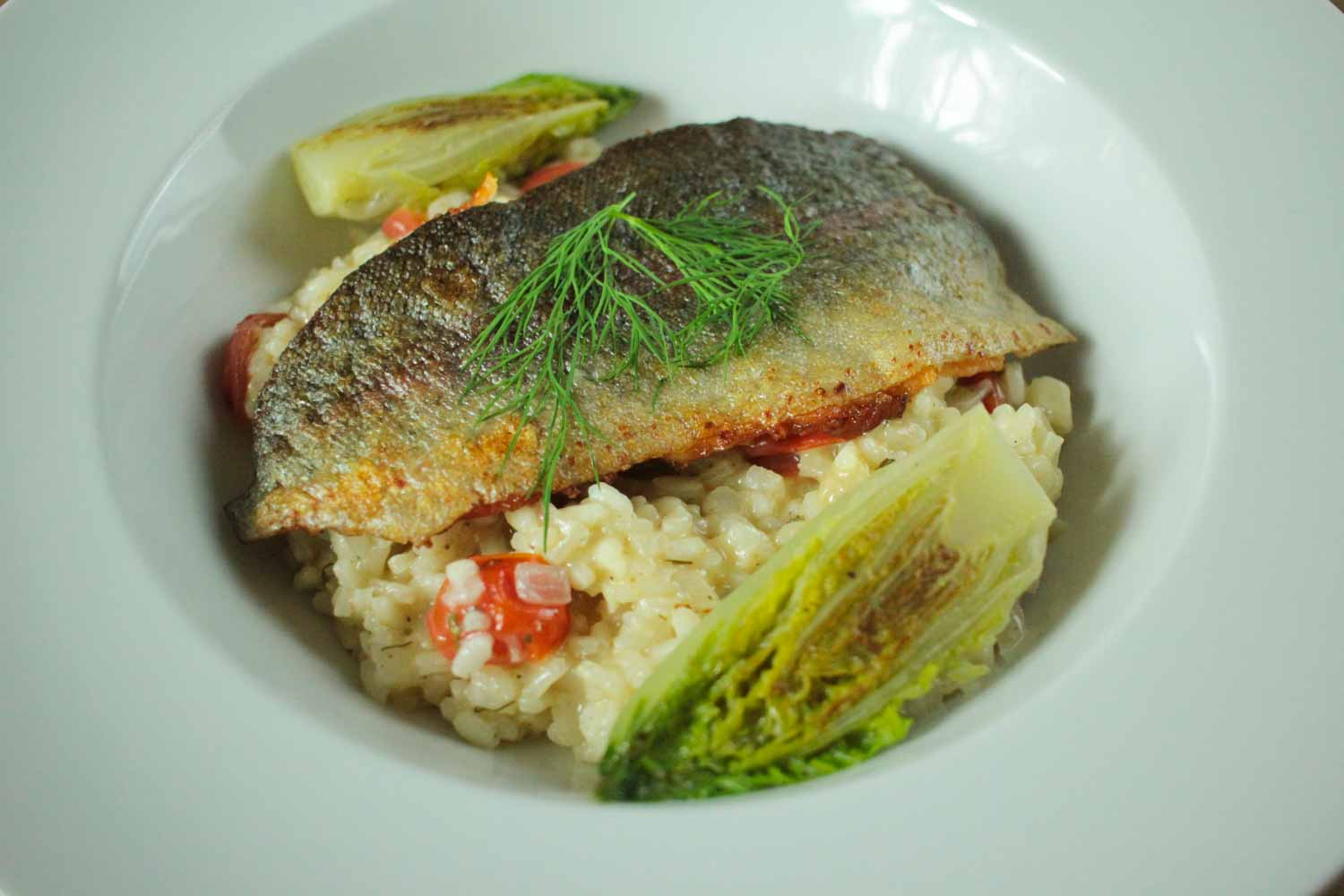 Pan Fried Rainbow Trout with Braised Lettuce and Dill Risotto Recipe - Globe Scoffers | globescoffers.com