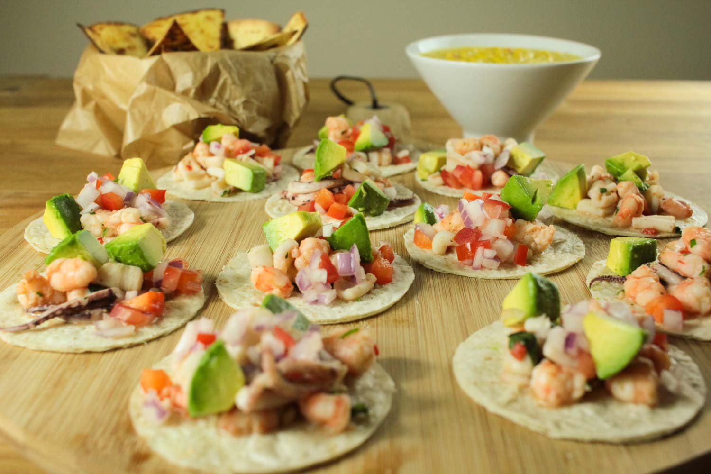 Mini Prawn and Squid Soft Tacos Recipe - Globe Scoffers | globescoffers.com