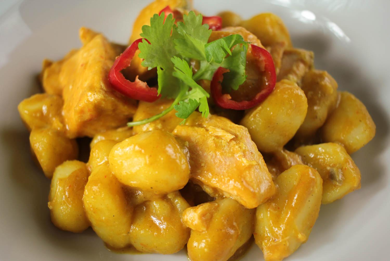 Coconut Salmon Curry with Gnocchi Recipe - Globe Scoffers | globescoffers.com