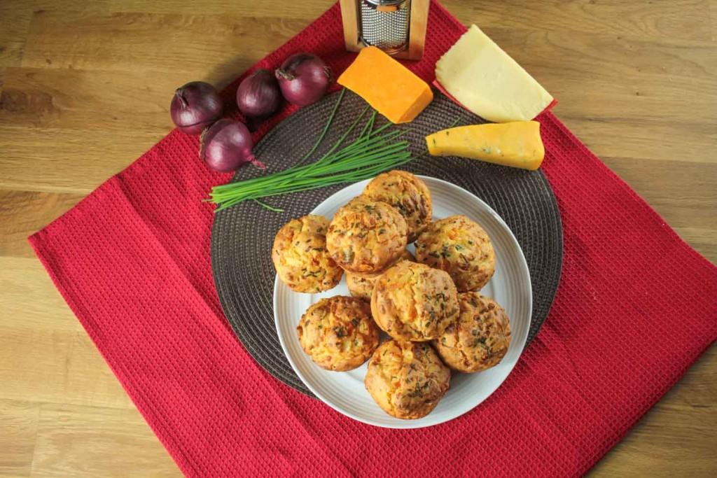 These cheesy muffins are exactly what you should make with any leftovers from your cheese board! They make a great snack, party food or breakfast treat.