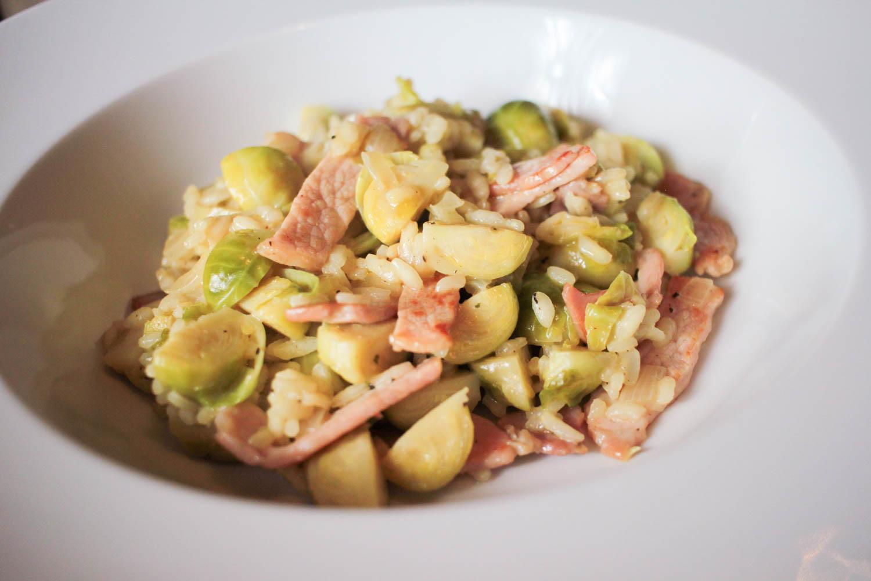 Sprout and Bacon Risotto Recipe - Globe Scoffers | globescoffers.com