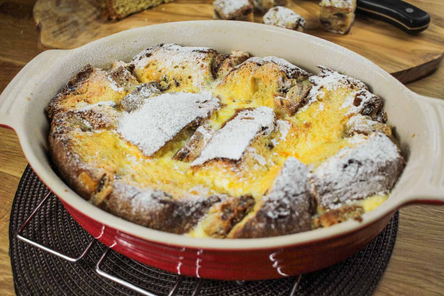 Panettone and Stollen Bread and Butter Pudding Recipe | globescoffers.com