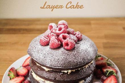 Raspberry and Chocolate Brownie Layer Cake recipe