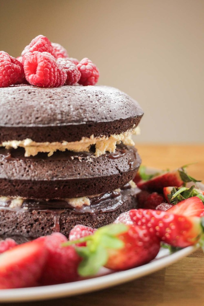 Raspberry and Chocolate Brownie Layer Cake