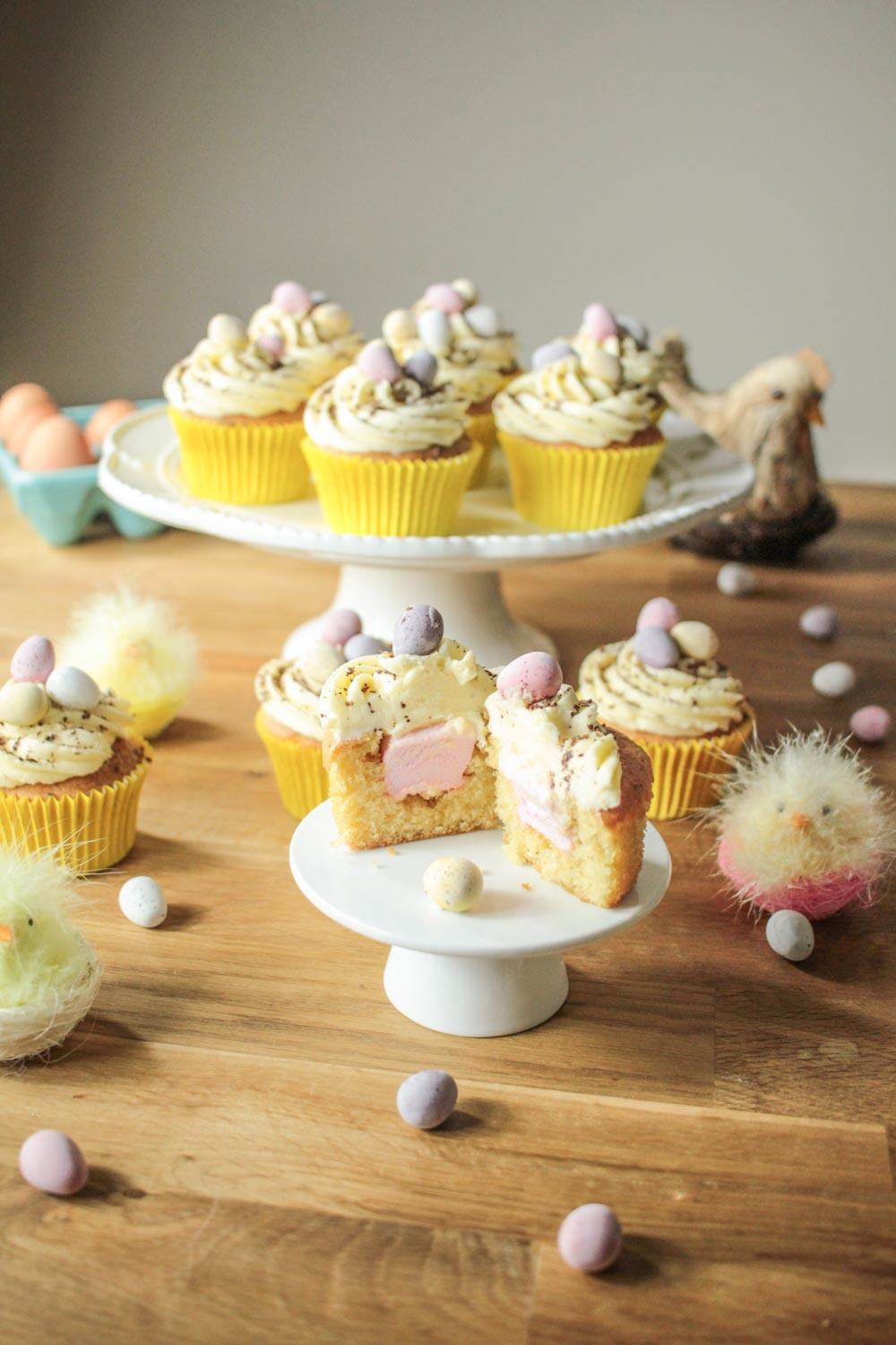 Easter Surprise Mini Egg Cupcakes Recipe - Globe Scoffers | globescoffers.com