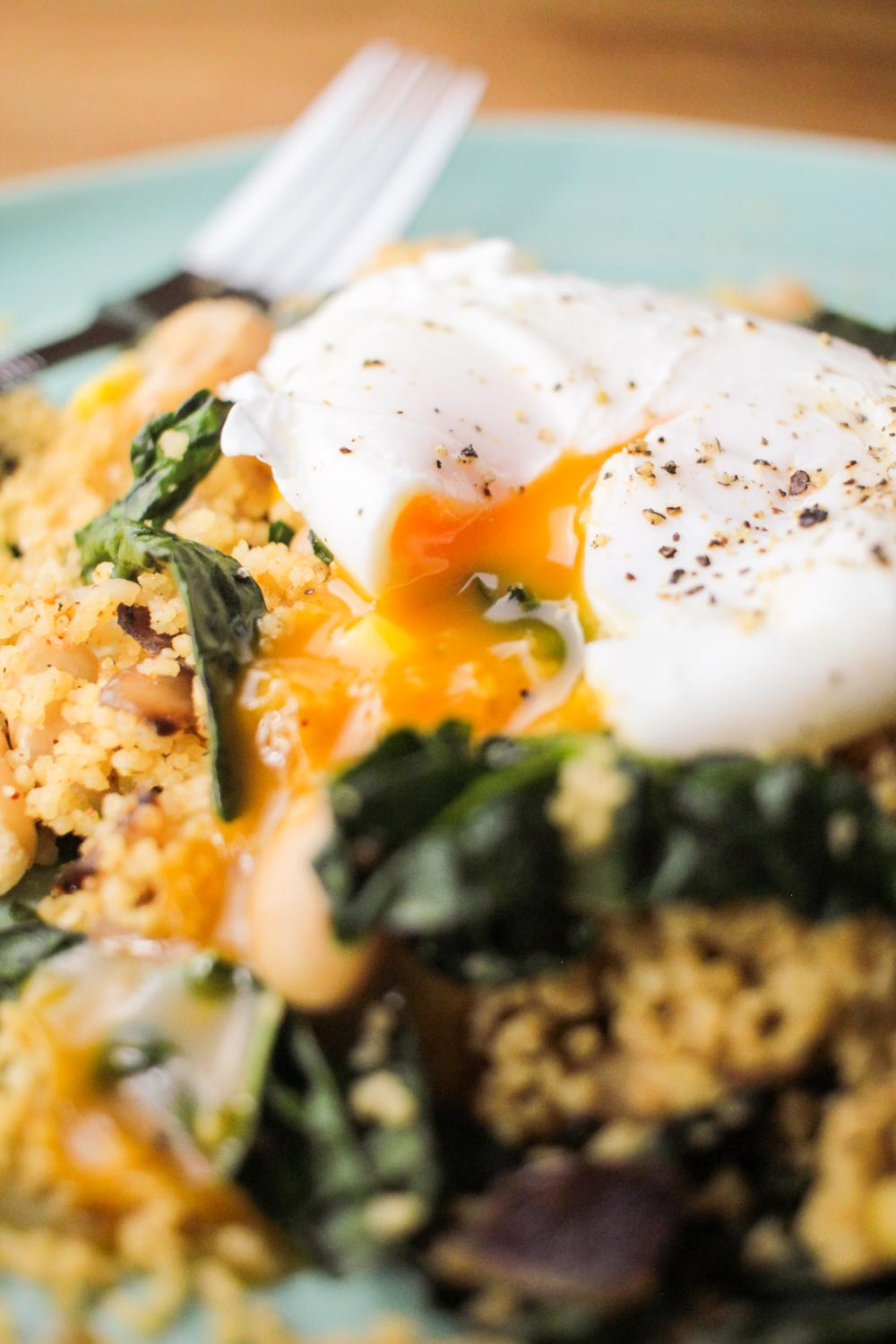 Fragrant Couscous Salad with a Runny Poach Egg - Globe Scoffers | globescoffers.com