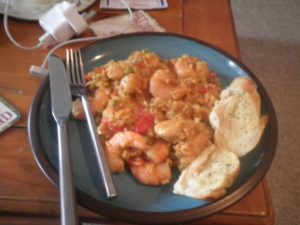 Dean's Paella in Bermuda. Excuse the blurry photo and garlic bread!