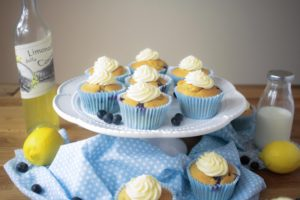 Blueberry and Lemon Muffins with a Limoncello Frosting