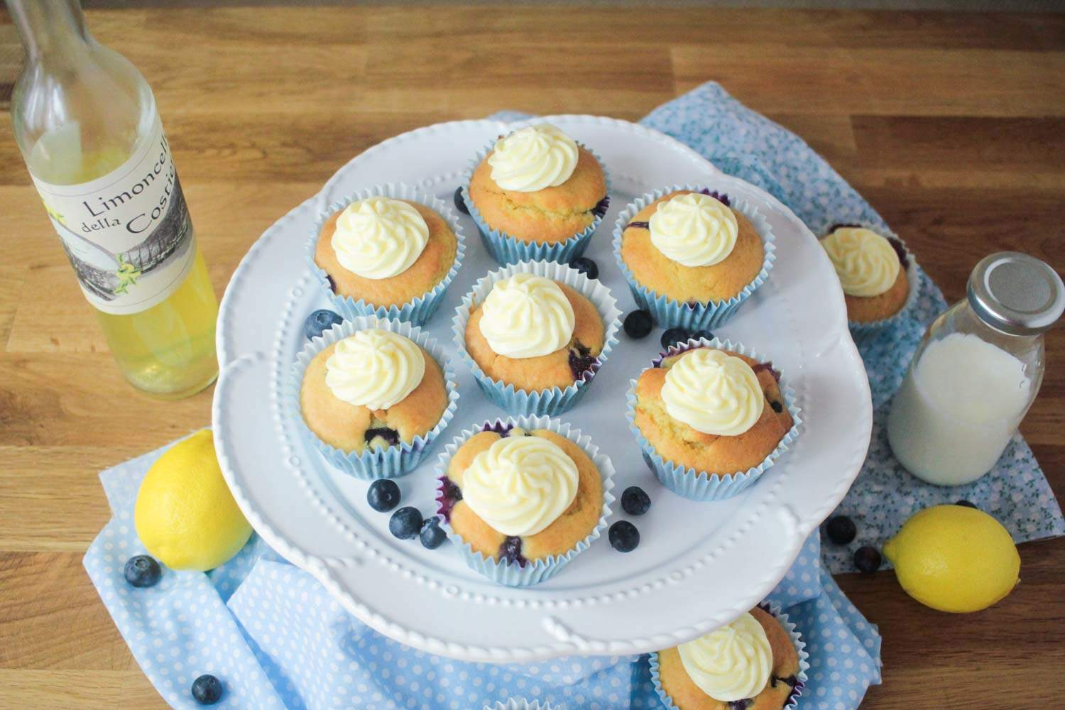 Blueberry and Lemon Muffins with a Limoncello Frosting-3 - Globe Scoffers | globescoffers.com