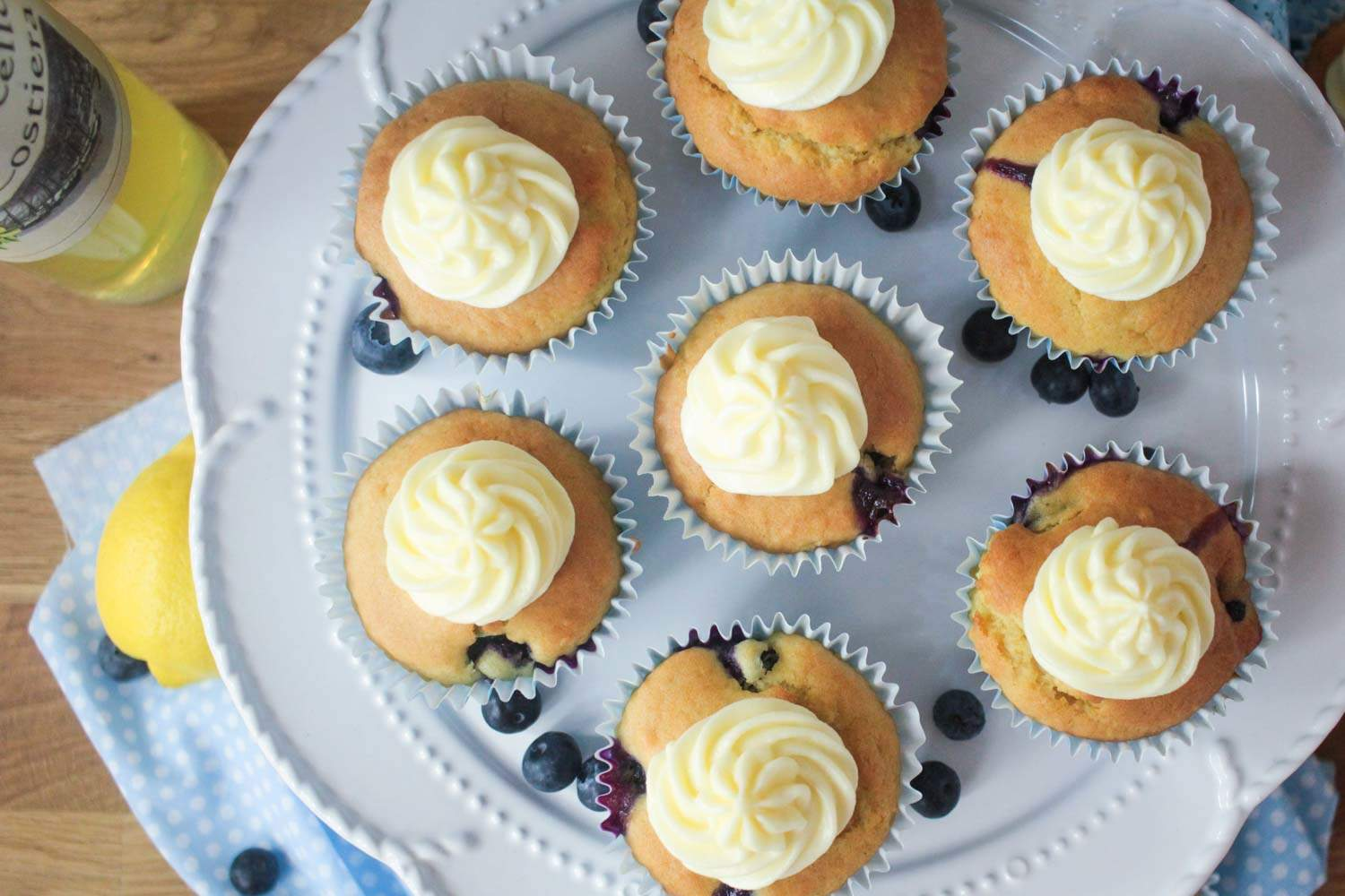 Blueberry and Lemon Muffins with a Limoncello Frosting-6 - Globe Scoffers | globescoffers.com
