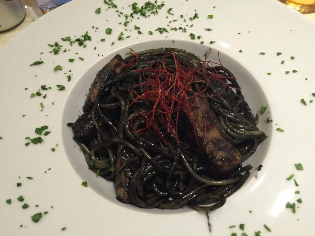 Cuttle fish ink spaghetti.
