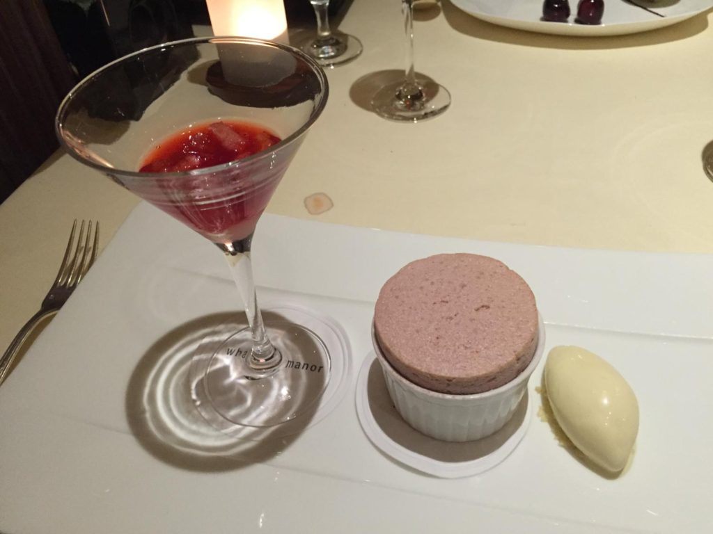 Dean desert. Strawberry and lemon soufflé Served with strawberry and chartreuse cocktail and lemongrass ice cream