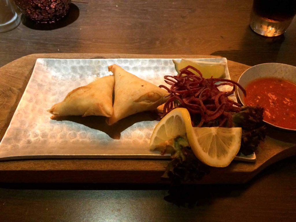 Salmon and goats cheese samosa