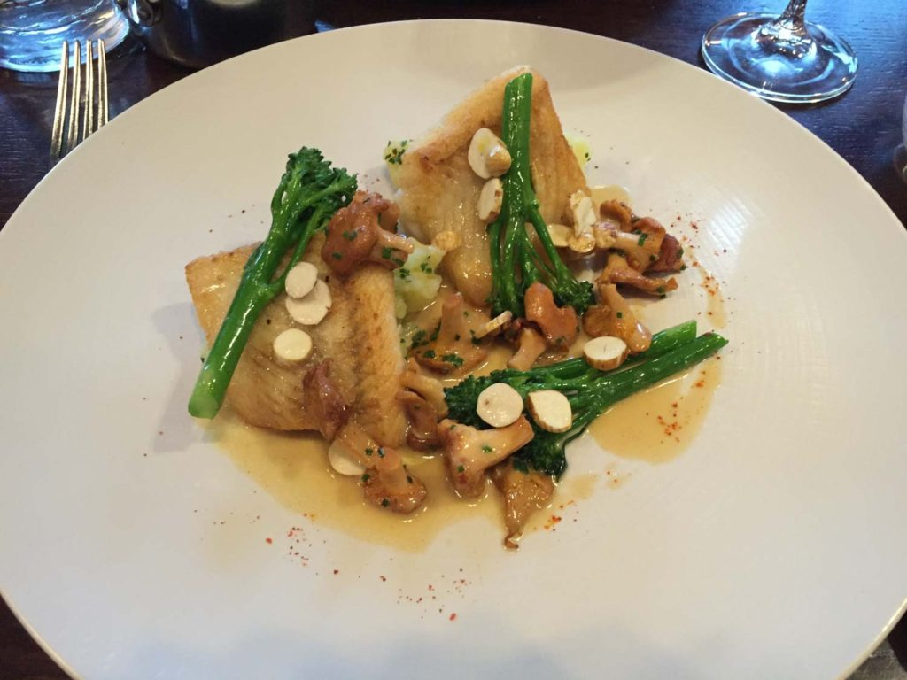 My main course. Cod Crushed potatoes, girolles, tender stem brocoli, brown butter sauce