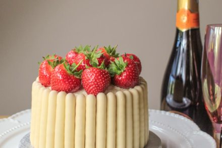 White Chocolate, Strawberry and Prosecco Cake