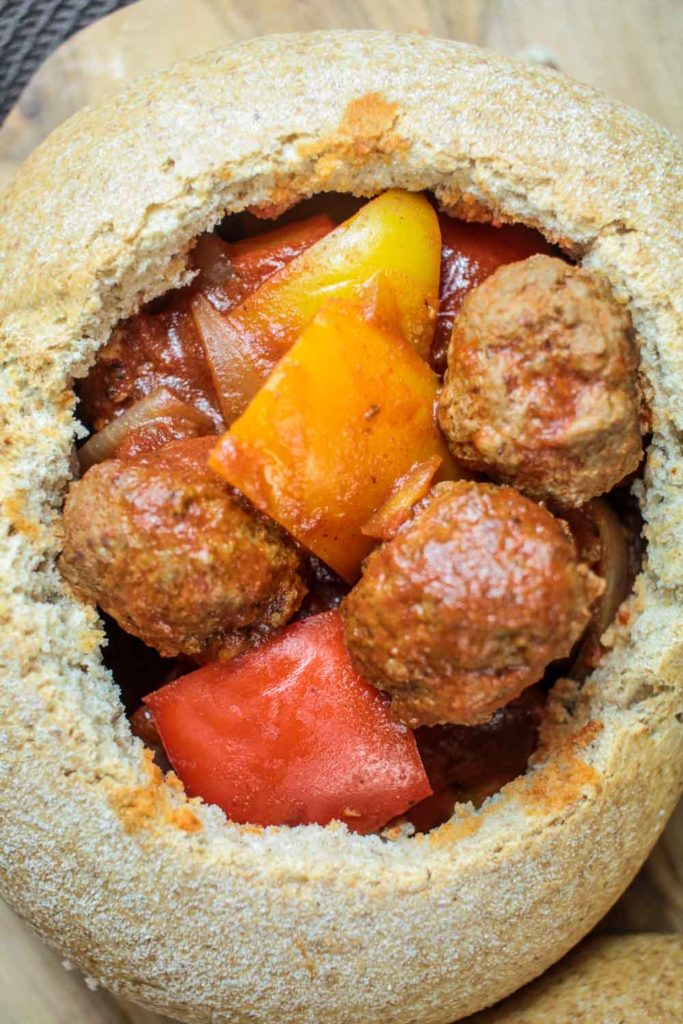 Meatball Goulash Bread Bowls