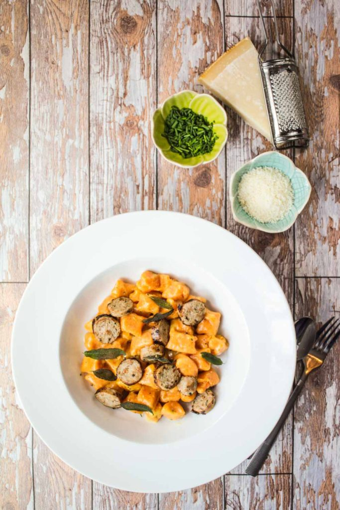 Buttery Sweet Potato Gnocchi with Sausage