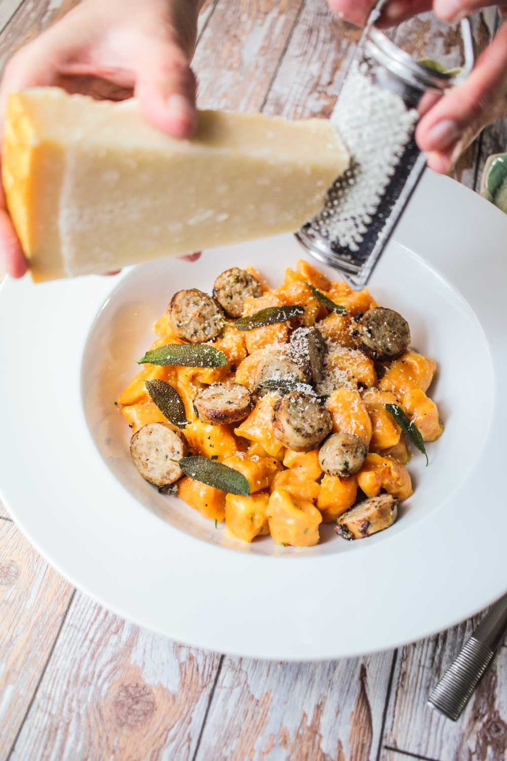 Buttery Sweet Potato Gnocchi with Sausage Recipe - Globe Scoffers | globescoffers.com