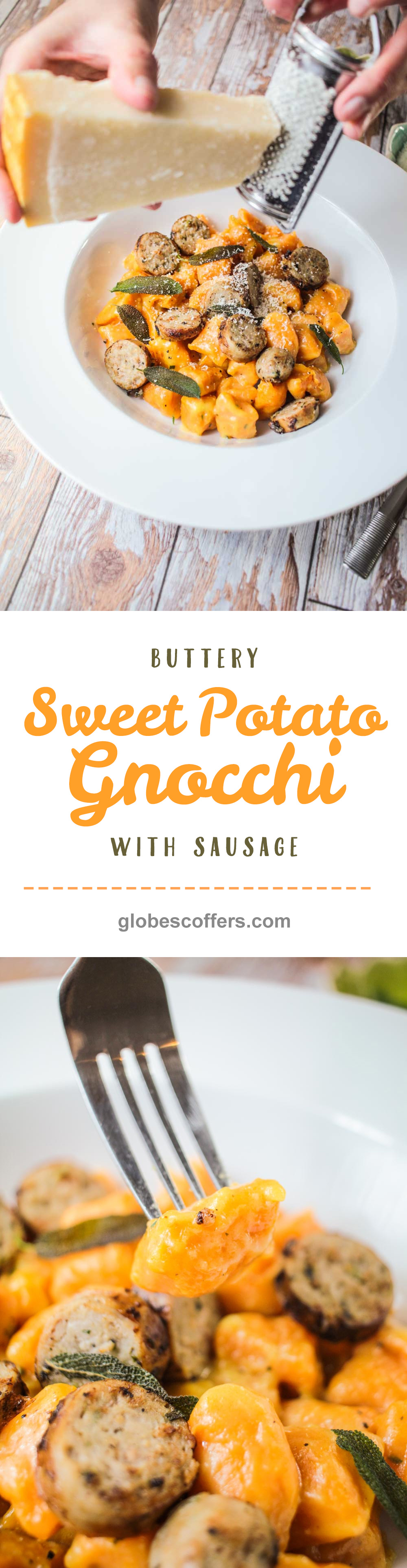 Buttery Sweet Potato Gnocchi with Sausage - globescoffers.com