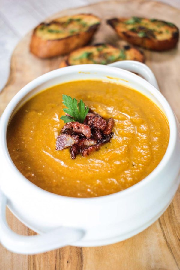 Spiced Red Lentil and Bacon Soup