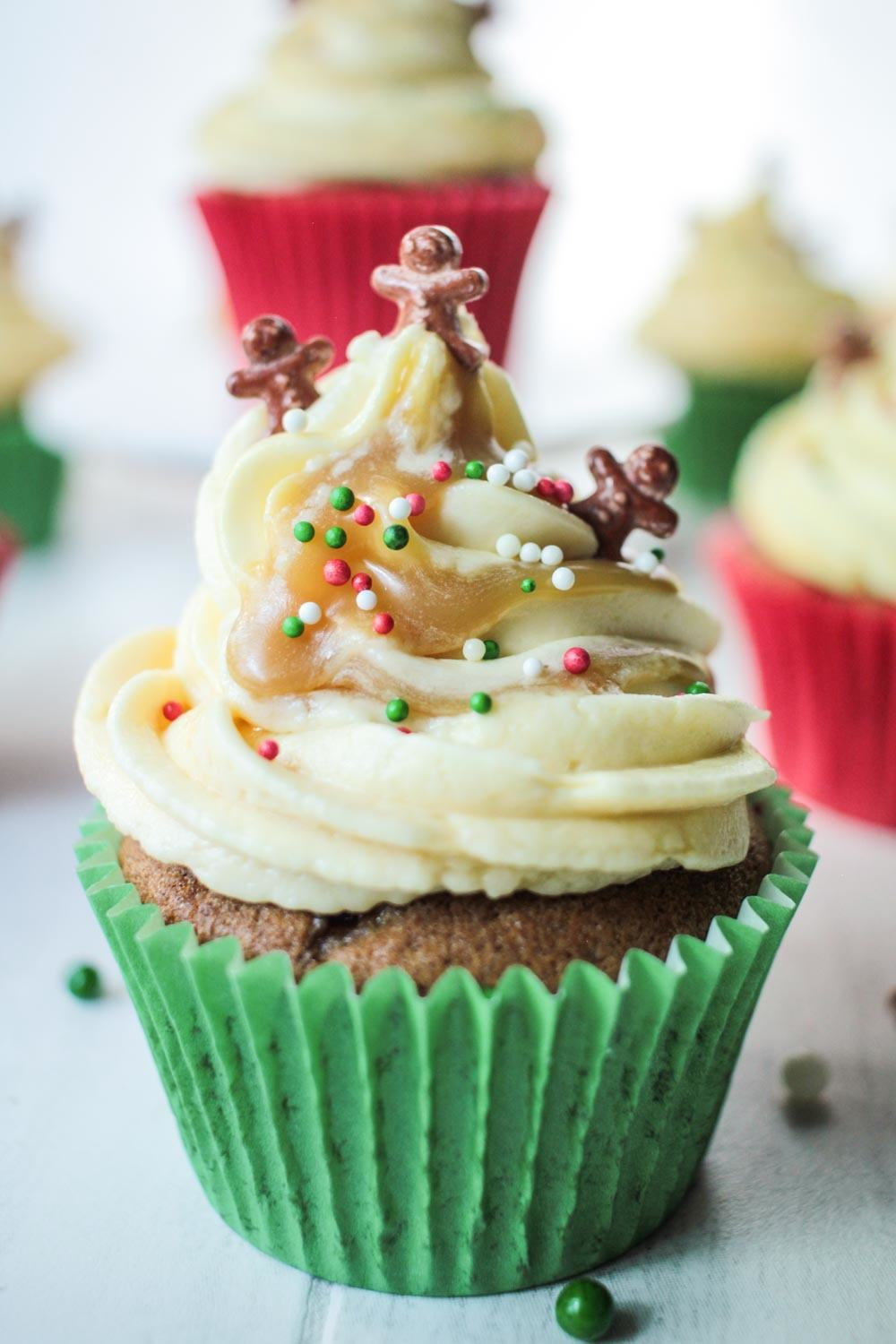 Sticky Ginger Christmas Cupcakes Recipe - Globe Scoffers | globescoffers.com
