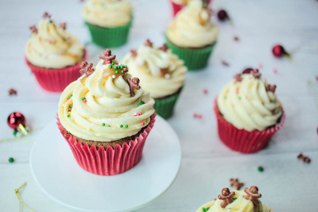Sticky Ginger Christmas Cupcakes