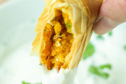 Sweet Potato and Goats Cheese Samosas