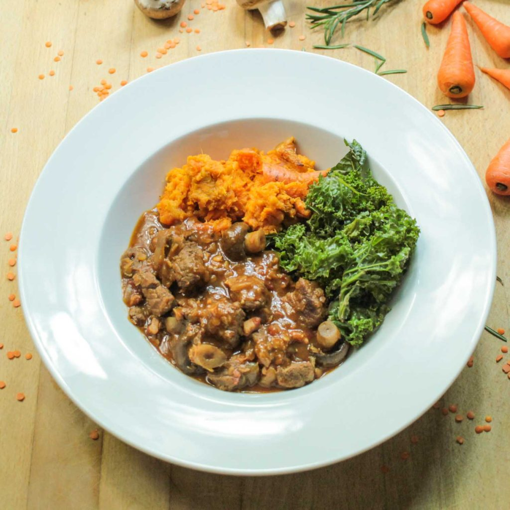 Beef and Ale Stew with Red lentils