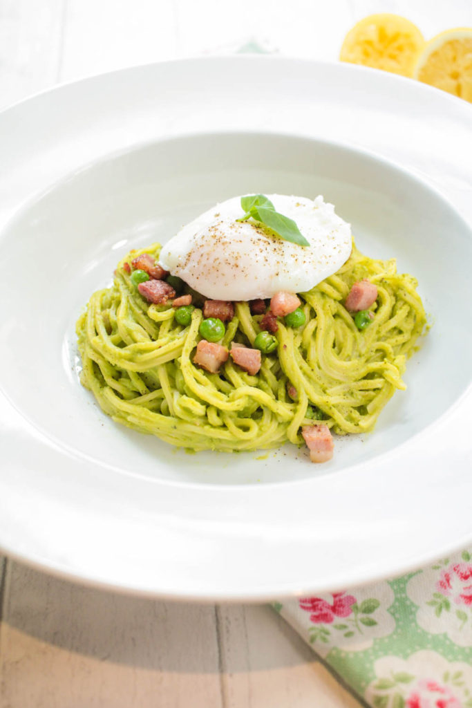 Pea and Pancetta Spaghetti
