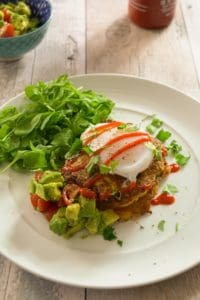 Sweet Corn Fritters With a Duck Egg and Avo Salsa