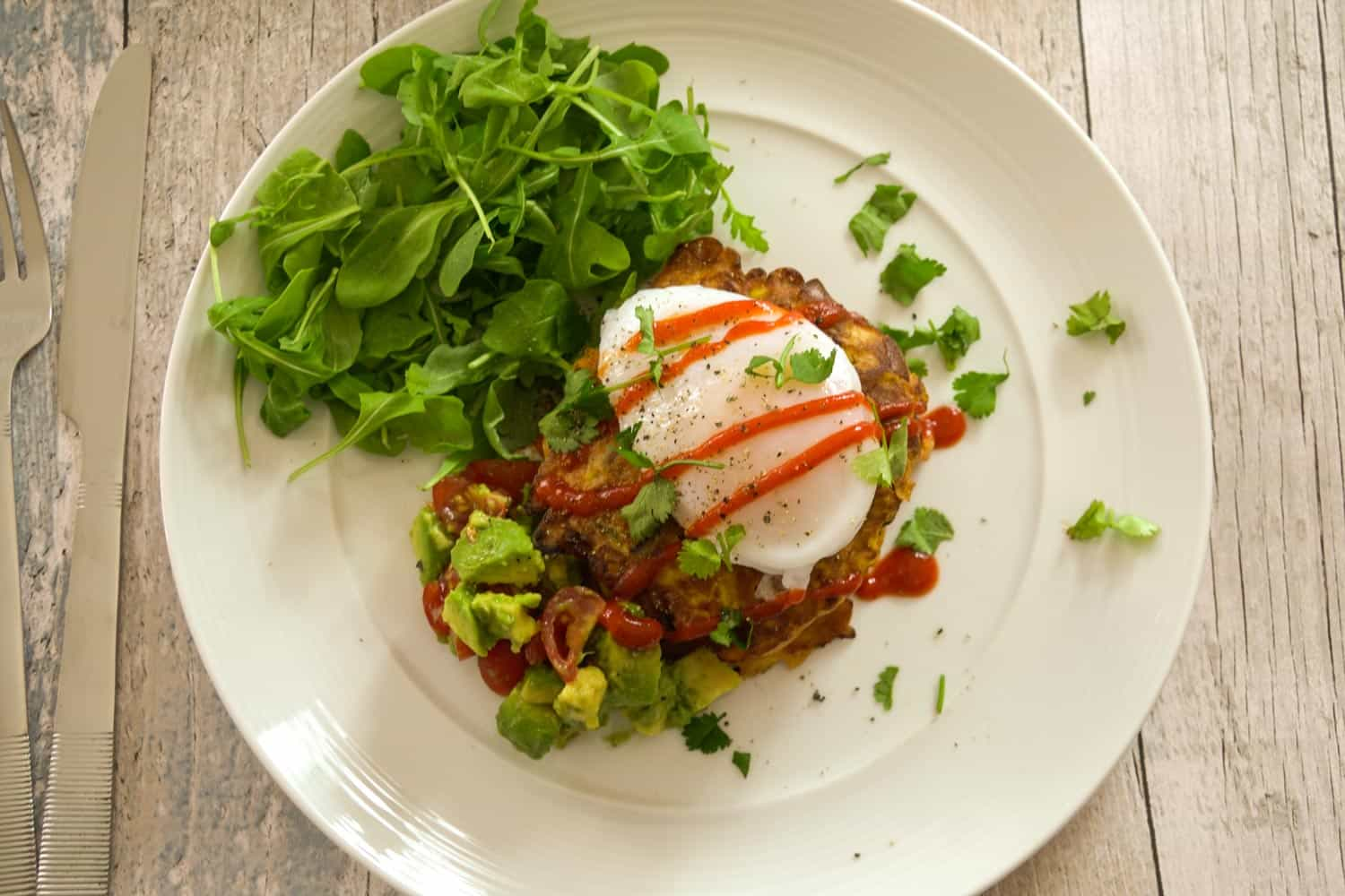 Sweet Corn Fritters With a Duck Egg and Avo Salsa-3 - Globe Scoffers | globescoffers.com