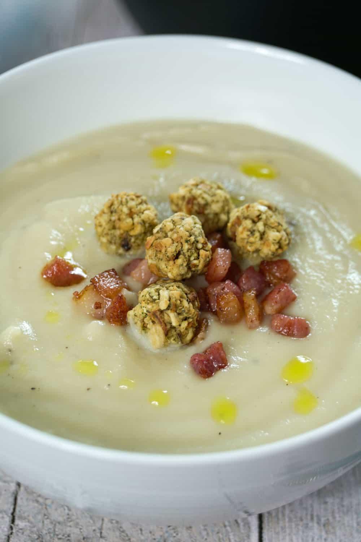 Cauliflower,Truffle Soup with Pancetta and Mini Stuffing balls-2 - Globe Scoffers   globescoffers.com