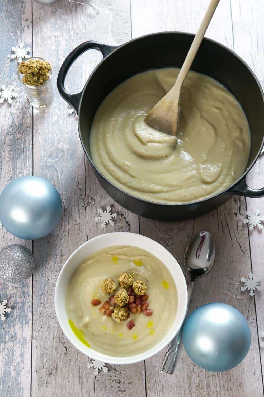 cauliflower, truffle soup with pancetta and mini stuffing balls