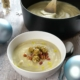 cauliflower, truffle soup with pancetta and mini stuffing balls