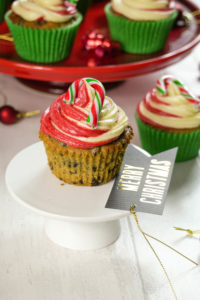 Festive Fruit Candy Cane Cupcakes