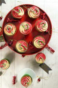 Festive Fruit Candy Cane Cupcakes