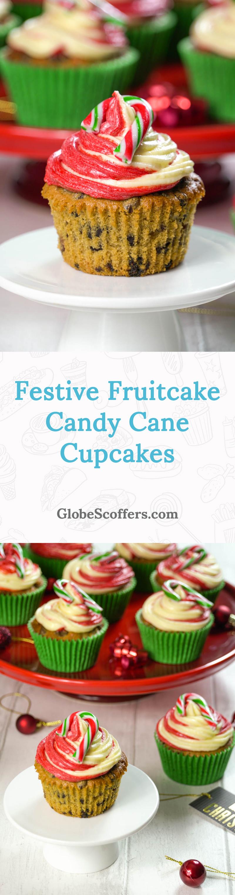 Festive Fruitcake Candy Cane Cupcakes