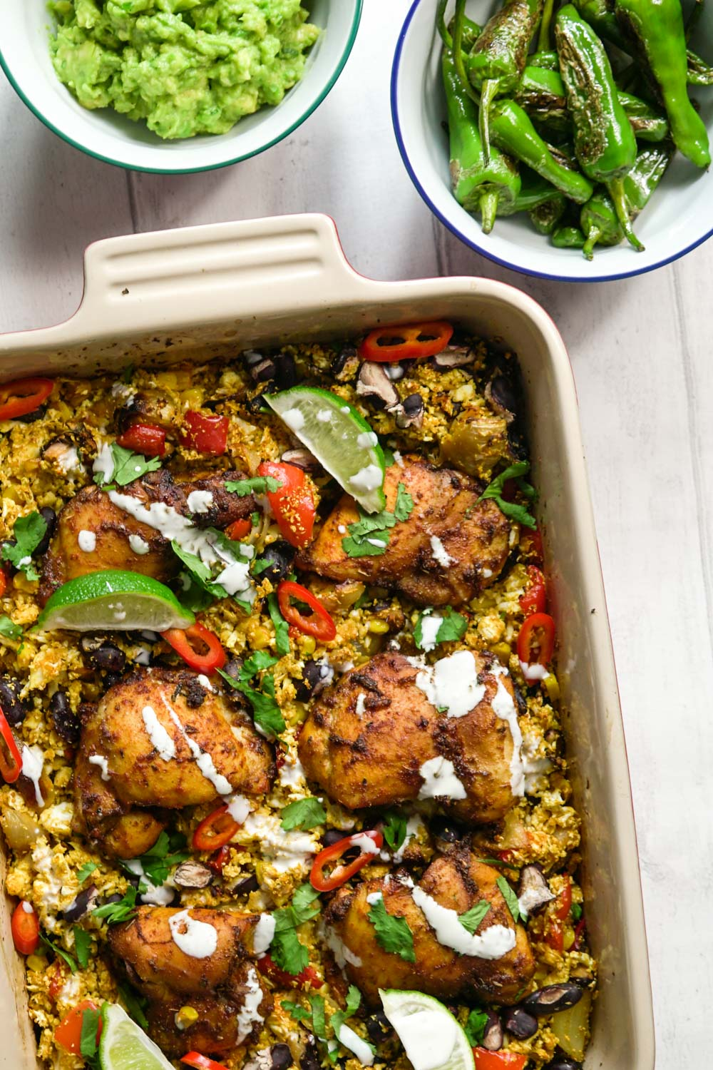 Mexican Chicken and Cauliflower Rice Traybake Recipe - Globe Scoffers | globescoffers.com